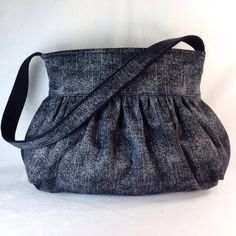 Gathered Bag / Purse Small  Dark gray and black by MaDonz on Etsy