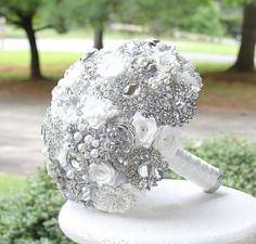 Omg! Exactly wat I want but gold!! White Wedding Brooch Bouquet. Deposit on made to by annasinclair