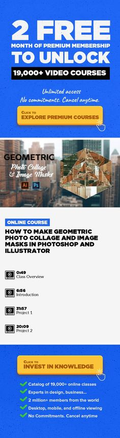 How to Make Geometric Photo Collage and Image Masks in Photoshop and Illustrator Photography, Freelancing, Adobe Photoshop, Collage, Concept Art, Retouching, Creative, Photo Editing, Compositing #onlinecourses #studyideas #onlineeducationdegree   In this class, you are going to learn how to create a geometric photo collage and image masks in Adobe Photoshop. If you are photoshop beginner and want ...