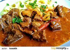 Pikantní pečený guláš s rajčaty a paprikami recept - TopRecepty.cz Food And Drink, Cooking Recipes, Beef, Treats, Minis, Fine Dining, Red Peppers, Meat, Cooking