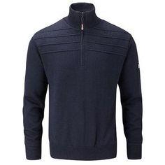 Oscar Jacobson Orson 1/4 Zip Lined Sweater - Dark Blue
