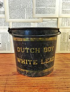 Vintage Paint Bucket, Dutch Boy White Lead Paint Pail With Handle, Vintage Advertising by 815VintageGoods on Etsy