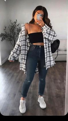 Casual Chic Outfits, Cute Simple Outfits, Swaggy Outfits, Trendy Summer Outfits, Winter Fashion Outfits, Pretty Outfits, Plaid Outfits, Cute Outfits, Party Outfit Casual