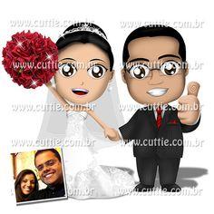 Caricatura para casamento - Noivos Aisla e Júlio - noivinhos cuttie