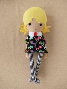 Fabric Doll Rag Doll Girl in Black Cat Dress by rovingovine