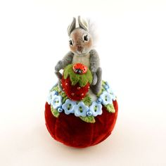 ~June time Gray Squirrel with Strawberry~ Pin Cushion ~By Janie Comito OOAK 2017 #JanieComitoOriginalOneOfAKind #SummerTheme2017