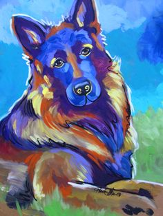 Acrylic on board original pop art painting of a German Shepard. 20x20. For sale $250. More breeds and pop art by Karren at www.karrenmgarces.com