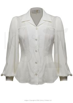40s Shirt Blouse - Vintage Ivory