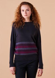 Isla Jumper Merino Wool - Fig Fair Isle Pattern, Slow Fashion, Merino Wool, Knitwear, Jumper, Women Wear, Teal, Turtle Neck, Style Inspiration