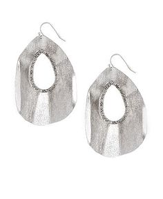 Jessica Simpson Earrings, Silver Tone Cut Out Oval Drop - Fashion Jewelry - Jewelry & Watches - Macy's