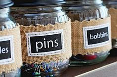 Labels are sewn around jars - amazing!