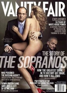 """James Gandolfini (Tony Soprano) and Sopranos creator David Chase (right). Cover photo by Annie Leibovitz for Vanity Fair April 2007 issue. Photo also used for Vanity Fair's June 2012 oral history of """"The Sopranos"""" as told by the cast eBook. Vanity Fair Magazine, Now Magazine, Magazine Covers, Tony Soprano, Mafia, Etsy Vintage, Les Sopranos, Por Tv, Marketing"""