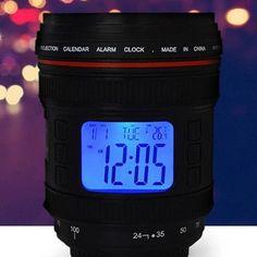Camera Lens Alarm Clock with Projector Lamp