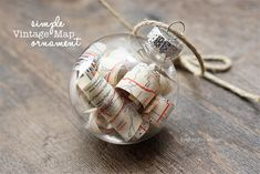 Simple Vintage Map Ornament - livelaughrowe.com