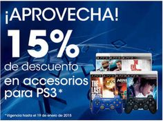Sony: descuento del 15% en accesorios para PS3 Sony: descuento del 15% en accesorios para PS3Sony store México tiena hasta 15% de descuento en tiendas físicas en accesorios y consolas de PS3. El descuento es directo sin ningún cupón.  Esta oferta y promoción de Sony es valida hasta el 19 de enero de 2015, Para mayor información de esta promoción visita el Sitio Web de Sony Store México haciendo click aquí.