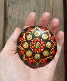 Handpainted mandala stone. Great idea for home or office decor.