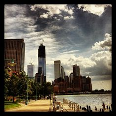 View of One World Trade Center from the Hudson River Park Tennis Courts, New York