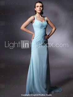 $179  Chiffon Sheath/ Column V-neck Sweep/ Brush Train Evening Dress - USD $ 179.99
