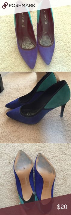 Gorgeous unique aldo heels Barely worn.  I maybe wore 5 times. Genuine leather inside and out. Comes with heel cushion already in shoe. Aldo Shoes Heels