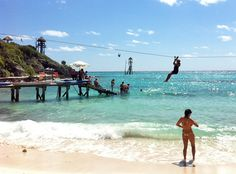 Zipline over the Caribbean Sea at Garrafon Park, Isla Mujeres, Mexico