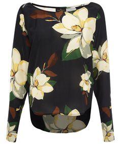 Black Magnolia Long Sleeve Blouse