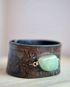 Belt Bracelet Leather Bracelet Aquamarine Jewelry by HANKandANNIE