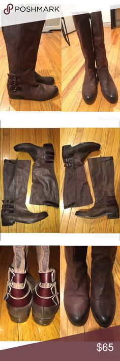 Women's Tall Riding Boot. Brown Tall Riding Boot . One buckle at the top and 3 buckles at the bottom. Minor Imperfection on right toe. Can be fixed with polish, I just never felt the need because it's so small. *** REASONABLE OFFERS ARE WELCOMED*** Renvy Shoes