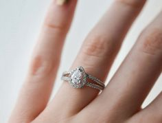 Pear Cut Halo Engagement Ring Promise Ring Wedding by MochaRings
