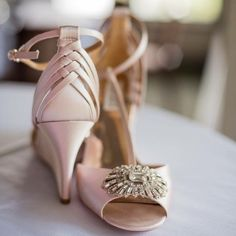 Beautiful Badgley Mischka bridal wedges  Stunning blush wedge with braided back and t-strap. Worn once for my wedding, in excellent condition, just some wear on the soles (sorry for partying ) Comes in original box with dust bag. Badgley Mischka Shoes Wedges