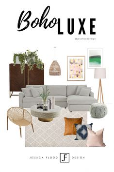 Boho living room design with luxe elements to create an eclectic interior and soft palette. Coastal Living Rooms, Boho Living Room, Living Room Interior, Home Decor Bedroom, Living Room Decor, Home Design, Mood Board Interior, Moodboard Interior Design, Interior Design Elements