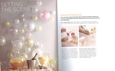How to make glittered balloons.  Love how they look like champagne bubbles.