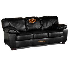 Blk Leather Classic Sofa - Oklahoma State University
