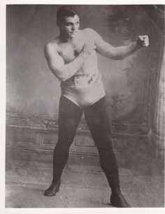 James Jackson Jeffries (April 15, 1875 – March 3, 1953) was a world heavyweight boxing champion.  His greatest assets were his enormous strength and stamina. Using a technique taught to him by his trainer, former welterweight and middleweight champion Tommy Ryan, Jeffries fought out of a crouch with his left arm extended forward. He was able to absorb tremendous punishment while wearing his opponents down. A natural left-hander, he possessed one-punch knockout power in his left hook.  Jeffries stood 6 ft 1 1⁄2 in (1.87 m) tall and weighed 225 pounds (102 kg) in his prime. Though he would not be thought of as a particularly big Heavyweight by modern standards, he was considered a giant in his time. He could run 100 yards (91 m) in just over ten seconds, and could purportedly high jump over 6 feet (180 cm).