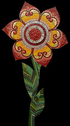 Red Yellow Flower Mosaic by Irinia Charney