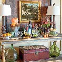 Autumn-Inspired Bar - Pumpkin Ideas for Your Front Door - Southern Living Bar Cart Styling, Bar Cart Decor, Console Table, A Table, Bar Antique, Bar Tray, Outside Bars, Gold Bar Cart, Bar Set Up