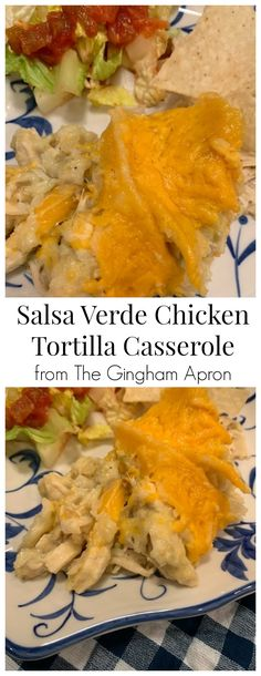 Salsa Verde Chicken Tortilla Casserole- hearty, cheesy, and so delicious! You'll love this one dish meal. A simple layered casserole which will please all. Mexican Dishes, Mexican Food Recipes, Dinner Recipes, Yummy Recipes, Dinner Ideas, Recipies, Chicken Tortilla Casserole, Casserole Recipes, Tacos
