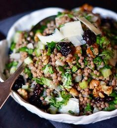 10 Fresh, Hearty Grain & Pasta Salads Recipe Roundup ~ starting with Whole Wheat Pearl Couscous with Cherries and Arugula ♥
