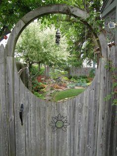 A garden through a porthole