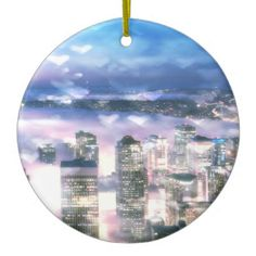 Blue and Purple Seattle Bokeh Hearts Christmas Tree Ornament #Seattle travel souvenir