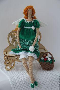 Купить Тильда Цветочный ангел - зеленый, вязание, кукла, кукла Тильда, тильда, тильда ангел