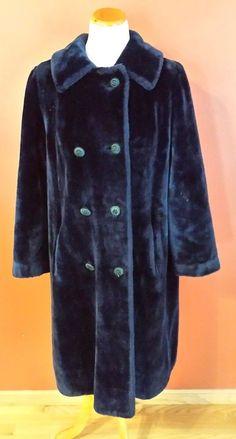 69fa769feef12 VTG Borgazia Faux Fur Coat Midnight Blue XL Long Double Breasted Lined  UNIQUE!  Borgazia  BasicCoat