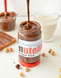 Like a real nutella … Homemade sugar free nutella low carb, keto hazelnut spread. Like a real nutella spread this homemade nutella recipe is creamy, chocolaty, rich and easy to spread on toast. Sugar Free Desserts, Low Carb Desserts, Low Carb Recipes, Real Food Recipes, Homemade Nutella Recipes, Sugar Free Nutella, Nutella Spread, Hazelnut Spread, Keto Snacks