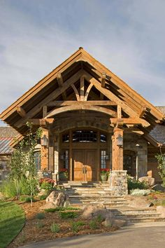 This stunning mountain retreat was designed by Locati Architects and built by Schlauch Bottcher Construction, located in Big Sky, Montana. Mountain Home Exterior, Mountain Homes, Sky Mountain, A Frame Cabin, Lodge Style, Rustic Doors, Exterior Doors, Rustic Exterior, House In The Woods