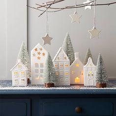 Christmas House Ceramic Tea Light Holders 3 Pack   Hobbycraft Noel Christmas, Simple Christmas, Winter Christmas, Christmas Crafts, Ceramic Christmas Decorations, Xmas Decorations, Holiday Decor, Deco Table Noel, Shape Crafts