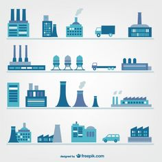 Factories and industry icons