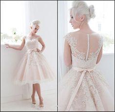 Corta A La Rodilla white/ivory/blush Apliques Boda Vestido Fiesta Tamaño Personalizado