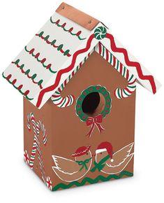 Wooden gingerbread Christmas birdhouse