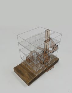Circulation of space through existing building. Acrylic model, laser cut and then strung together Triangular Architecture, Dynamic Architecture, Concept Models Architecture, Landscape Architecture Model, Architecture Model Making, Origami Architecture, Landscape Model, Parametric Architecture, Architecture Design