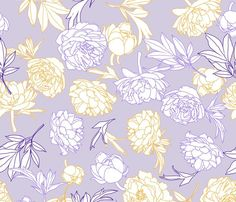 flowers toss lilac-yellow large scale fabric by michaelakobyakov on Spoonflower - custom fabric Of Wallpaper, Pattern Wallpaper, Buy Fabric Online, Spoonflower Fabric, All Design, Fabric Flowers, Custom Fabric, Lilac, Duvet Covers