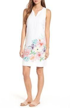 Women's Tommy Bahama Hibiscus Sketch Shift Dress, Size X-Small - White White Shift Dresses, Blue And White Dress, White Dresses For Women, White Dress Summer, Navy Blue Dresses, Summer Dresses, Cheap Dresses, Casual Dresses, Tommy Bahama